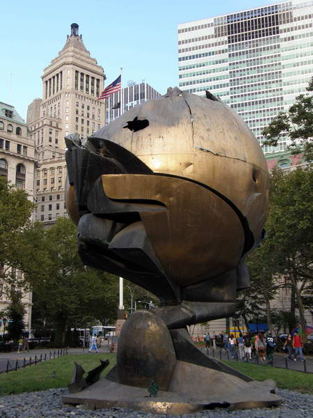 This sculpture stood in the plaza of World Trade Center...